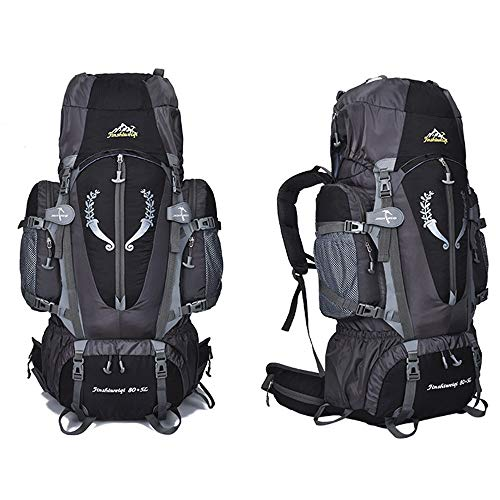 OWMEOT 85L Internal Frame Hiking Backpack for Women and Men with Waterproof Rain Cover Climbing Backpack fit Outdoor Travel Mountaineering Camping (Black) by OWMEOT (Image #2)