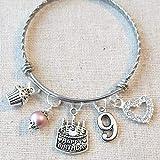 33b8d0320 9th BIRTHDAY GIRL, 9th Birthday Charm Bracelet, 9 Year Old Daughter  Birthday Gift Idea
