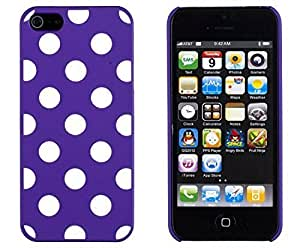 Purple Polka Dot Embossed Slim Fit Hard Case for Apple iPhone 5S / 5 (AT&T, Verizon, Sprint, International) - Includes Sunshine Case Keychain Screen Cleaner [Retail Packaging by Sunshine Case]