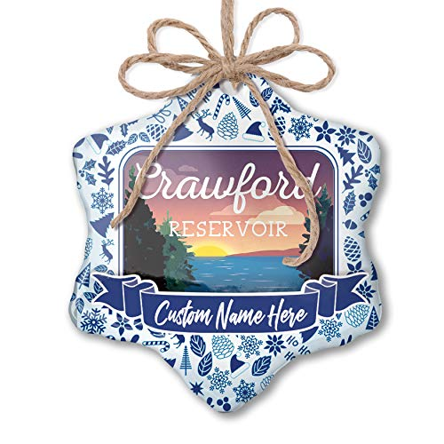 (NEONBLOND Custom Tree Ornament Lake Retro Design Crawford Reservoir with Your)