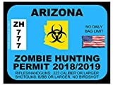 Arizona Zombie Hunting Permit(Bumper Sticker)
