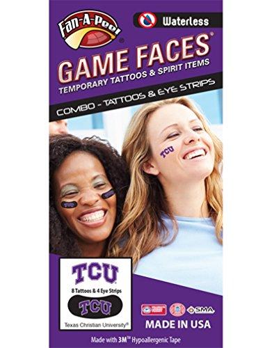 Texas Christian University (TCU) Horned Frogs - Waterless Peel & Stick Temporary Tattoos - 12-Piece Combo - 8 Purple/White TCU Logo Spirit Tattoos & 4 Purple/White TCU Logo on Black Eye Strips