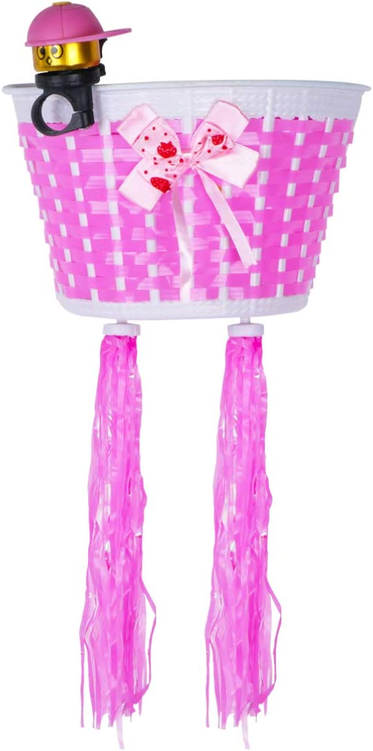 Kids Bike Front Basket with Bow Scooter Tricycle Streamer Tassels Decoration