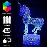 3D Optical Illusion Unicorn Lamp Rainbow 7 Colors Changeable Night Light Birthday Party Gifts for Kids Boys Girls (rainbow unicorn)
