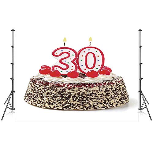Digital Prom Bracket - 30th Birthday Decorations Stylish Backdrop,Birthday Cake with Cherries on Top and Burning Candles Number 30 for Photography Festival Decoration,86''W x 59''H