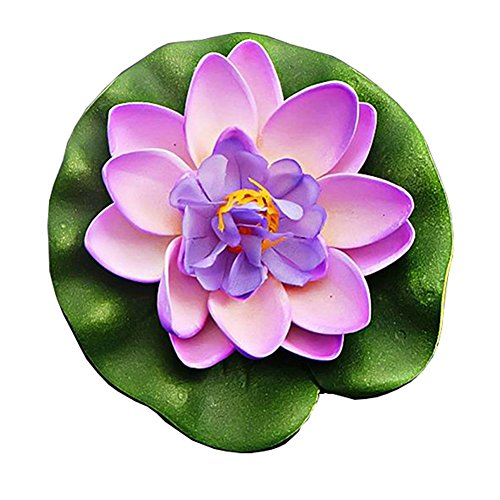LAAT Artificial Lotus Flower Floating Water Lily Lotus Flower Fountain Aquarium Fish Tank Decor Plastic Leaves Pond Decoration (3) (Pond Lily Fountain)