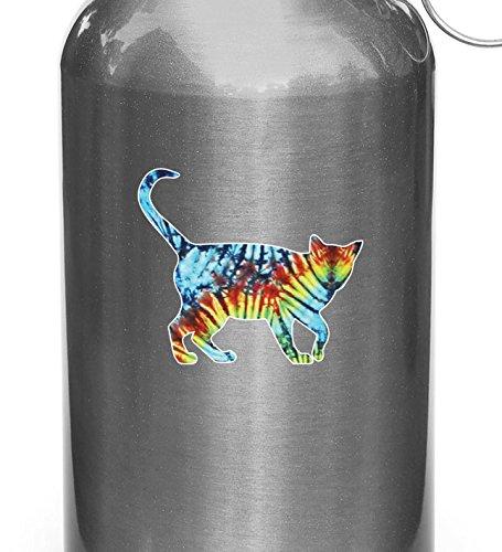Rainbow Tie Dye Cat Walking - D2 - Vinyl Decal Sticker for Reusable Water...