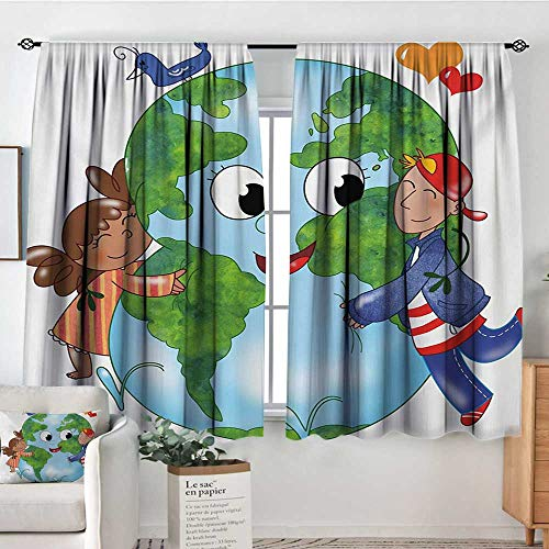 - Mozenou Earth Window Curtain Fabric Two Cute Kids Hugging Happy Planet Earth Bird and Hearts Embracing in Cartoon Style Drapes for Living Room 63