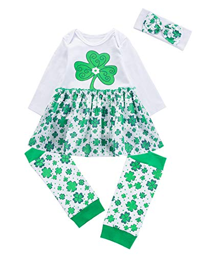 Baby Girl's Outfit Set My First ST Patrick's Day Lucky Clover Bodysuit Tutu Skirt & Leg Warmers (White, 3-6 Months)