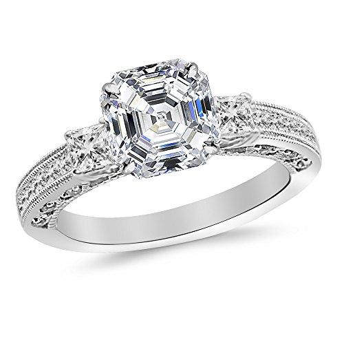 1 Carat 14K White Gold Three 3 Stone Princess Cut Channel Set Asscher Cut Diamond Engagement Ring (0.48 Ct D Color VS1 Clarity Center Stone)