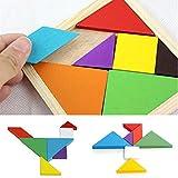 Calistouk en bois arc-en-ciel Couleur Tangram DIY puzzle en bois Kid jouet éducatif