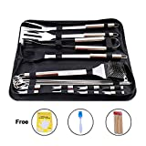 TRLYC 20PC Stainless Steel Barbecue Cooking Utensil Set BBQ Grill Tool Kit,Fork, Spatula,Tong, Grill-Cleaning Brush, Basting Brush,Skewers,Corn Forks,Barbecue Brush,Bamboo Sticks and Disposable Gloves