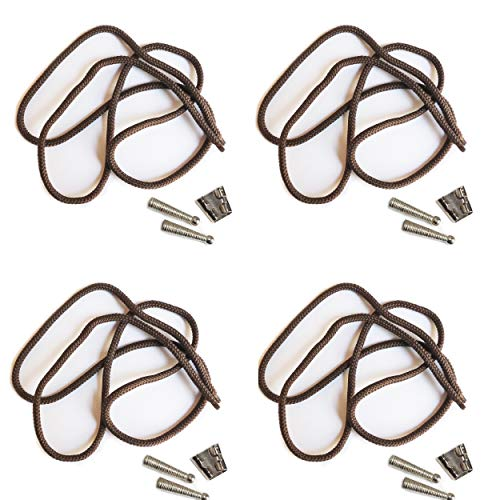 (Blank Bolo String Tie Parts Kit Standard Slide Textured Tips Brown Cord DIY Silver Tone Supplies for 4 Ties)