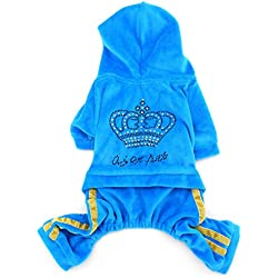 SMALLLEE_LUCKY_STORE Pet Clothes for Small Dog Cat Soft Velvet Crown Jumpsuit Coat Hooide Pajamas Tracksuit Blue S