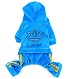 SMALLLEE_LUCKY_STORE Pet Clothes for Small Dog Cat Soft Velvet Crown Jumpsuit Coat Hooide Pajamas Tracksuit Blue L