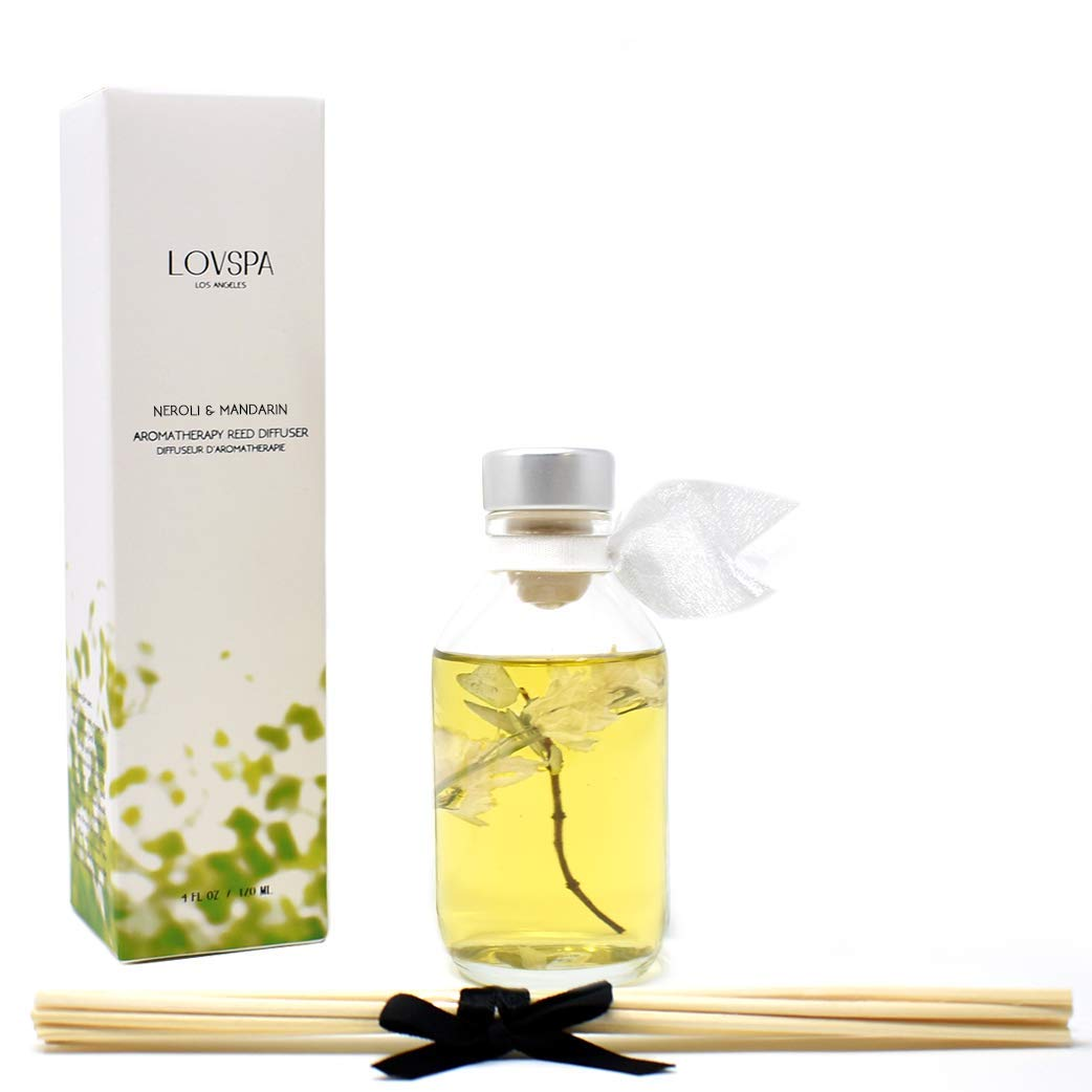 LOVSPA Neroli & Mandarin Reed Diffuser Set - Home Fragrance Made with Essential Oils & Natural Botanicals - Orange Blossom, Lemon, Iris & Petitgrain l Home Decor & Housewarming Gift Idea by LOVSPA (Image #2)