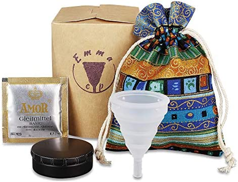 EmmaCup, la copa menstrual plegable - Incluye clic-clac-caja, bolsa de almacenaje y 1 saquito de lubricante