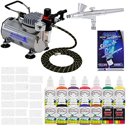 Master Airbrush® Brand Finger Nail Decorating System. 1 Airbrush, Air Compressor, Stencil Set of Over 100 Designs, 6
