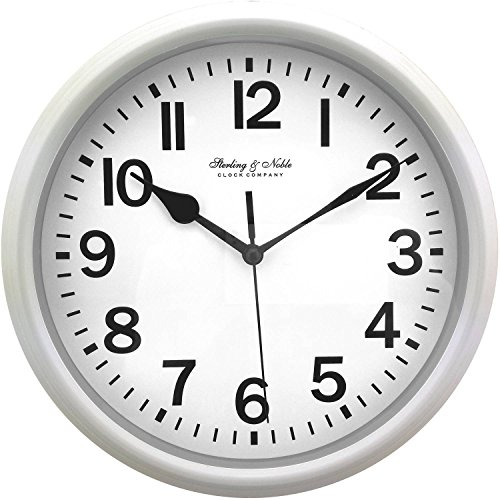 "Mainstay Sterling and Noble 8.78"" Analog Display Wall Clock - White"