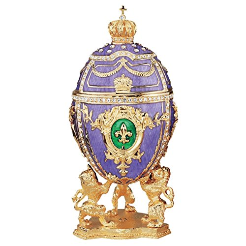 Design Toscano Fleur-de-Lis Romanov Style Collectible Enameled Egg, 6 Inch, Pewter, Purple and Gold ()