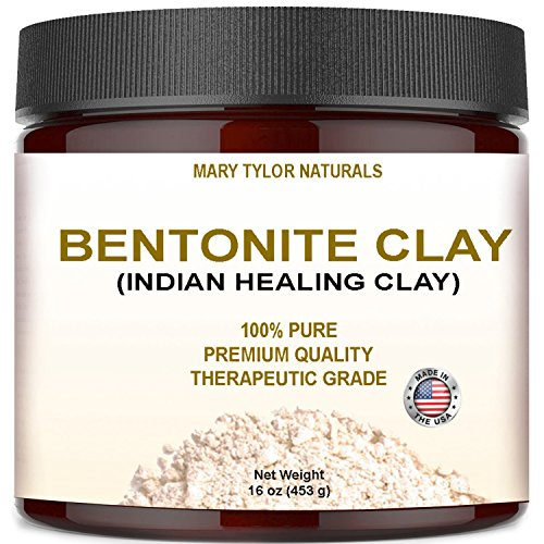 Indian Volcanic Clay (Bentonite Clay Large 16 oz Jar, Indian Healing Clay Powder By Mary Tylor Naturals tural Healing Facial Mask, Deep Pore Cleansing, Removes Excessive Facial Oil, Reduces Acne, Made in the USA)