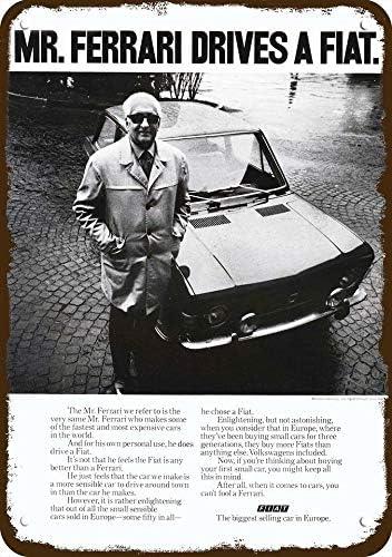 Laptopo 1971 Fiat Car Vintage Look Replica Metal Sign Mr Enzo Ferrari Drives A Fiat Amazon De Küche Haushalt