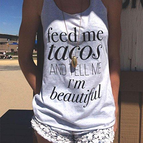 Fulltime®Femmes Lettre Impression sexy sans manches Tank Crop Top Vest T-shirt