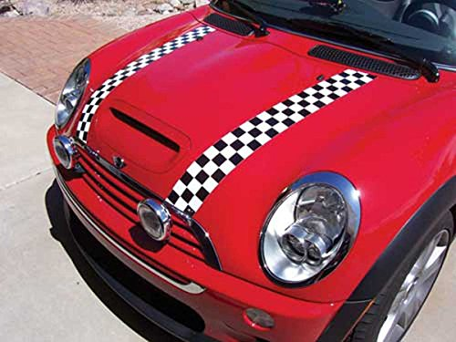 MINI Cooper / Cooper S Magna Guard Bonnet Hood Stripes Checkered Magnetic Removable Reusable for Clubman R55, Hatchback R56 & Convertible R57 (Mini Cooper S Bonnet)