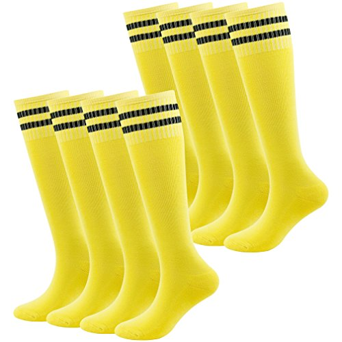 Fasoar Teens Baseball Socks Athletic Gym Fit Running Knee Striped Football Soccer Socks 8 Pairs (Classic Fit Striped Rugby)