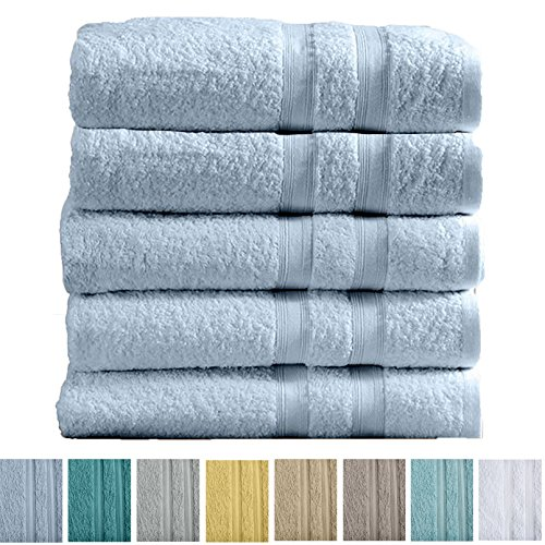 Great Bay Home 5-Pack Premium 100% Cotton Bath Towel Set (28 x 52 inch) Multipack For Home Spa Pool Gym Use. Quick-Drying and Extra Absorbent. Emelia Collection. (Ballard Blue)