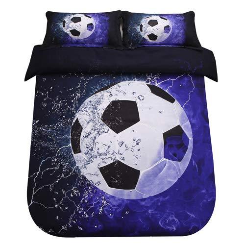SDIII 3PC Football Bedding Microfiber Full/Queen Sport Duvet Cover Set for Boys, Girls and Teens