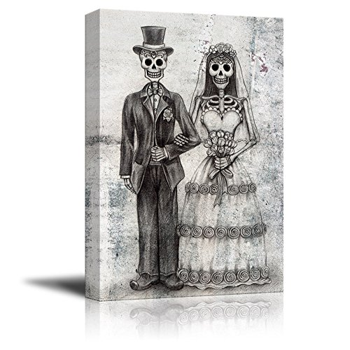 wall26 - Canvas Print Wall Art - Wedding Photo with a Skull Couple - Gallery Wrap Modern Home Decor | Ready to Hang - 24x36 inches (Art Halloween Led Wall)