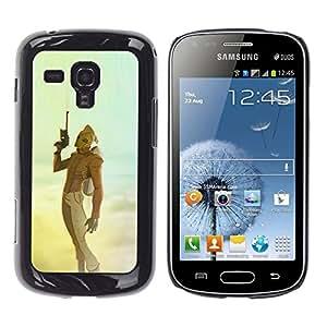 Shell-Star Arte & diseño plástico duro Fundas Cover Cubre Hard Case Cover para Samsung Galaxy S Duos / S7562 ( Sci Fi Movie Blue Yellow Teal Sky Gun )