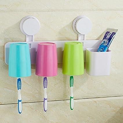 Soporte para cepillos de dientes, montaje en pared, 3 tazas, juego de almacenamiento
