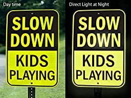 Slow Down Kids Playing Signs | Children at Play Yard Sign | Diamond Grade Ultra Reflective Yellow for Street Safety | Durable Heavy Duty Dibond Aluminum with | 18"|256|192|?|en|2|443e6d4a02e73c15bbdc1310084f3b0a|False|UNLIKELY|0.3560789227485657
