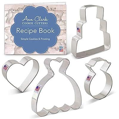 Wedding Cookie Cutter Set with Recipe Book - 4 Piece - Wedding Dress, Wedding Cake, Diamond Ring and Heart - Ann Clark - USA Made Steel