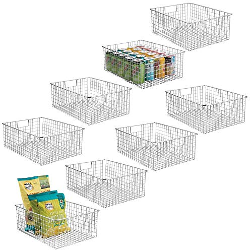 (mDesign Farmhouse Decor Metal Wire Food Organizer Storage Bin Baskets with Handles for Kitchen Cabinets, Pantry, Bathroom, Laundry Room, Closets, Garage - 8 Pack - Chrome)