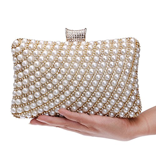 Pearl Holder Evening Evening Rhinestones Beaded Clutch Chain Shoulder gold Diamonds Handbags Metal Purse Women Bag KYS Party wf4xv1vq