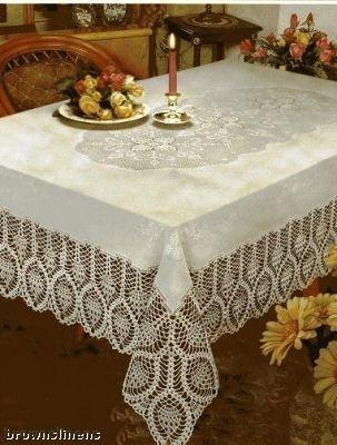 New Crochet Vinyl Lace Tablecloth, 60 wide X 90 long Oblong, Bone Beige by Better Home