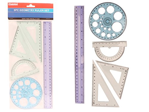 GEOMETRY RULER SET 5PC CLEAR , Case of 96