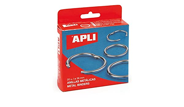 Amazon.com : Apli 000454 Set of 20 Metal Ring Openings 38 mm Silver : Office Products