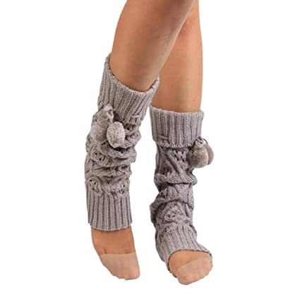 VJGOAL Mujeres Otoño E Invierno moda casual color sólido Cálido Respirables Cómodos Calcetines de Punto Pierna Arranque Crochet Calcetines largos(Un tamaño, ...