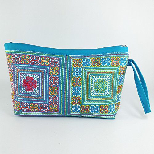 Bag Cosmatic Purse Makeup Fabric Handbag Thai Hmong Zipper Handmade Coin Wallet Handcraft Woman - Handmade Zipper Fabric