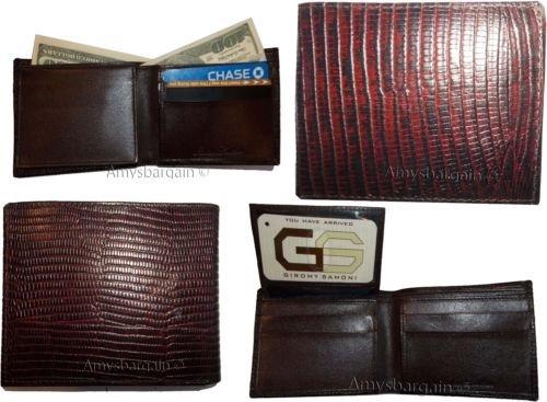 ID Genuine Black Lizard Brown Bifold Leathe Billfold Skin 2 Printed Men's Card Wallet Wallet 7IxqwF7v