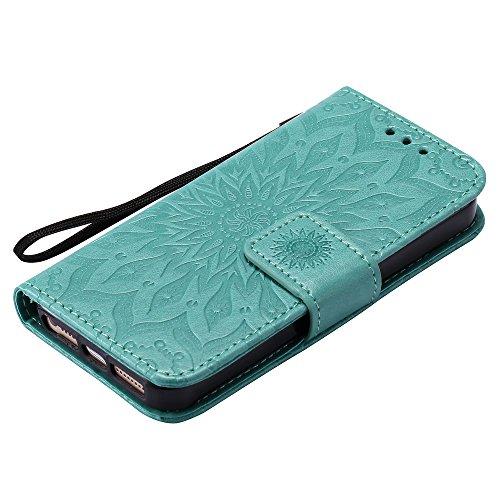 Cuir par Anti pour Fermeture Etui en Aimant Rabat 5S Protection iPhoneSE KATU22182 Coque Apple Porte iPhone5 Vert iPhone Carte Choc avec Lomogo de Portefeuille iPhone5S Housse Bleu 5 YZRTqw