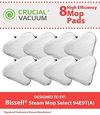 8 Bissell Steam Mop Select Mop Pads Fit Bissell Steam Mop Select Hard Surface Cleaner 94E9T(A), Compare Part # 76B2A, Designed & Engineered by Crucial Vacuum