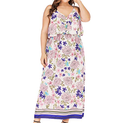 (CCatyam Plus Size Dresses for Women, Sleeveless Print Backless Strap Beach Long Maxi Loose Casual Fashion)