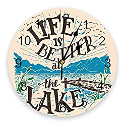 wanxinfu Home Decor Wall Clock, Life is Better at The Lake - Silent Non Ticking Home Office School Decorative Art Noiseless Round Wall Clock, Battery Operated (11.8 Diameter)