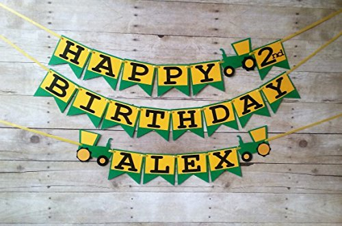 Tractor Birthday Banner - party supplies - party banners - decorations - personalized - john deere (Banner Birthday Deere John)