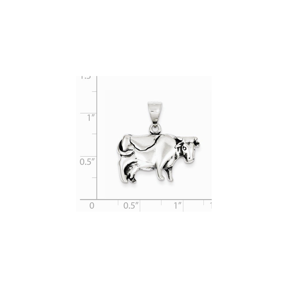 Goldia Sterling Silver Antiqued Cow Charm